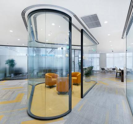 aesthetics design frameless olours, gridded partitions, fabric panel integrations, glass canopy, curved walls